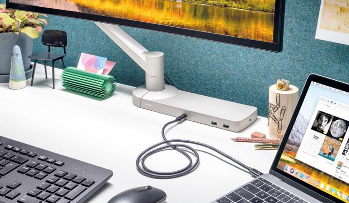 Dataflex monitorarm -docking station - mornitorarm met docking station - USBC aansluiting - monitorarmen