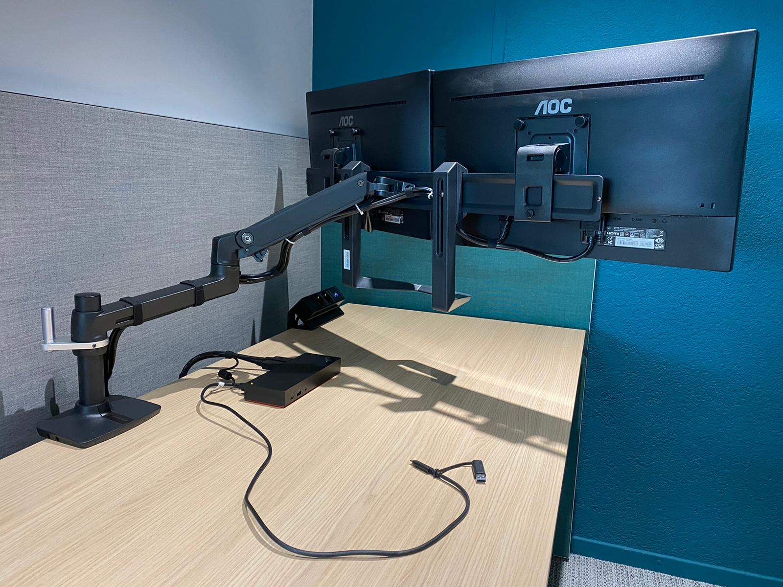 Sekondant - flexible monitor arm voor 2 schermen - kabelmanagement - USB charging - Monitorarmen - schermen