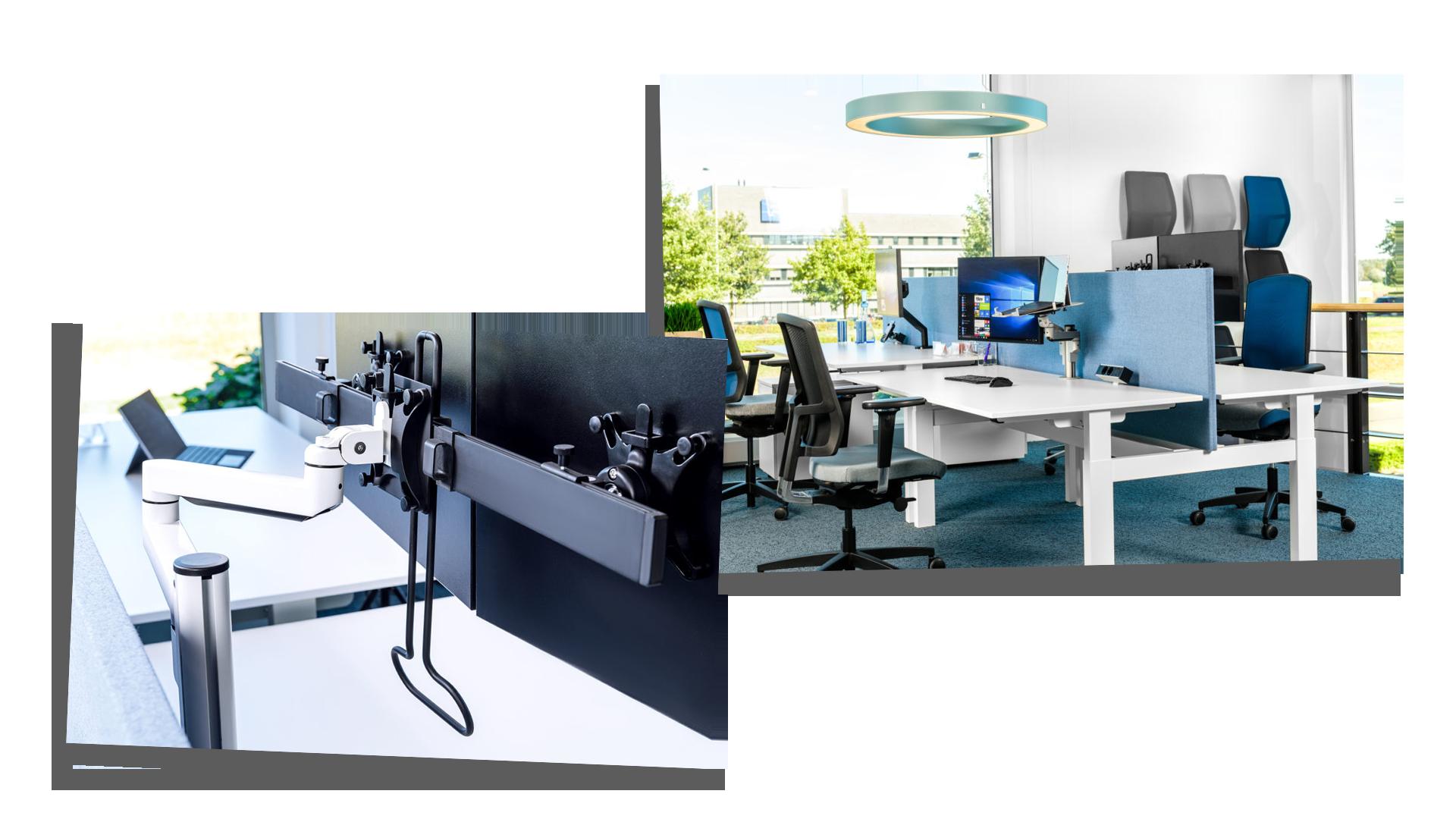 Monitorarm, werkplek, akoestiek, bureaustoel, zit sta bureau